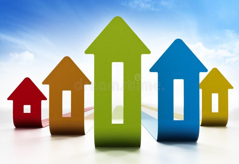 Διάγραμμα τιμών κατοικίας αύξησης στο άσπρο υπόβαθρο τρισδιάστατη απεικόνιση απεικόνιση αποθεμάτων