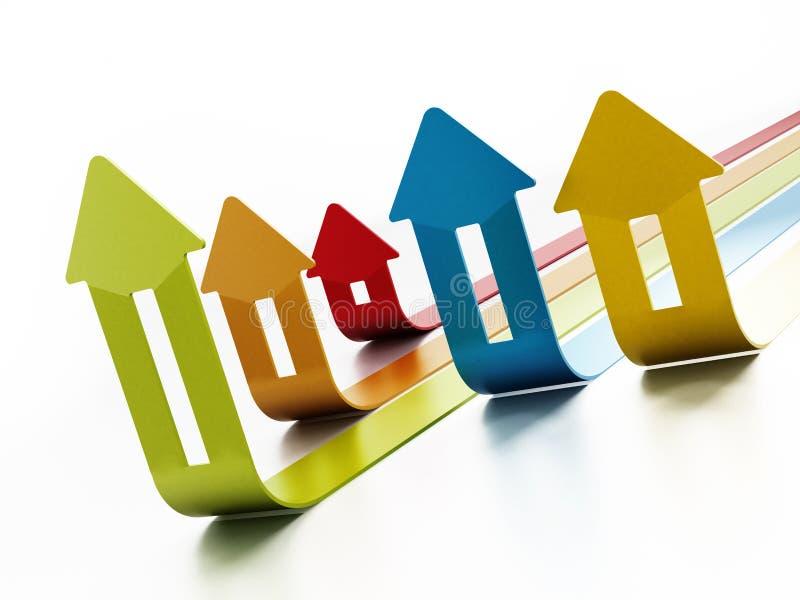 Διάγραμμα τιμών κατοικίας αύξησης στο άσπρο υπόβαθρο τρισδιάστατη απεικόνιση διανυσματική απεικόνιση