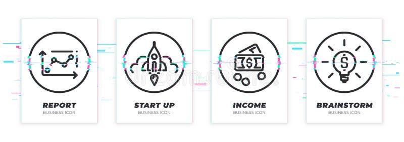 Διάγραμμα Glitched, ξεκίνημα, χρήματα, εικονίδια ιδέας καθορισμένα διανυσματική απεικόνιση