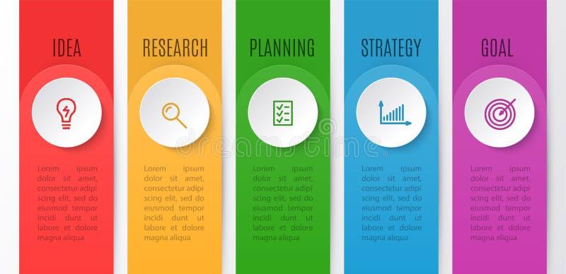 Διάγραμμα Infographics για την επιχειρησιακή δημιουργική έννοια Υπόδειξη ως προς το χρόνο με 5 βήματα Διανυσματική απεικόνιση του ελεύθερη απεικόνιση δικαιώματος