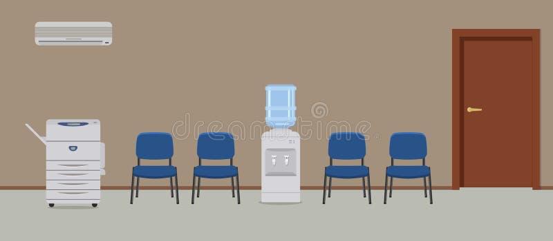 Διάδρομος γραφείων Θέση για να περιμένει με τις μπλε καρέκλες, ένα δοχείο ψύξης νερού και μια μηχανή αντιγράφων ελεύθερη απεικόνιση δικαιώματος