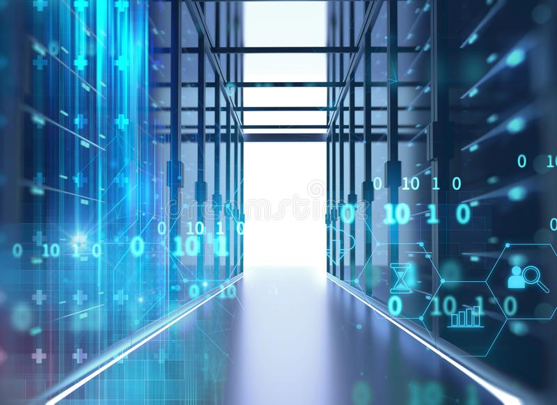 Διάδρομος του δωματίου κεντρικών υπολογιστών με τα ράφια κεντρικών υπολογιστών στο datacenter τρισδιάστατο IL διανυσματική απεικόνιση
