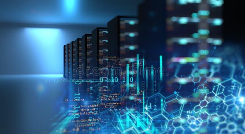Διάδρομος του δωματίου κεντρικών υπολογιστών με τα ράφια κεντρικών υπολογιστών στο datacenter τρισδιάστατος άρρωστος απεικόνιση αποθεμάτων