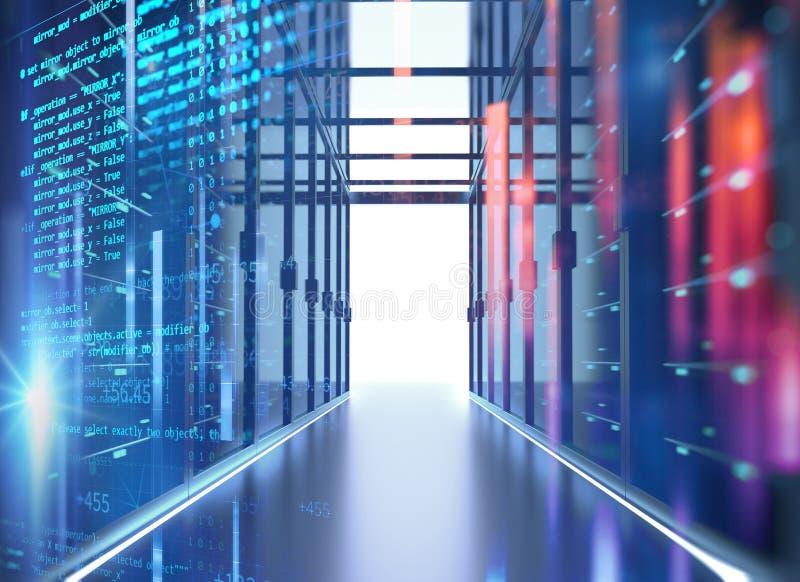 Διάδρομος του δωματίου κεντρικών υπολογιστών με τα ράφια κεντρικών υπολογιστών στο datacenter τρισδιάστατο IL απεικόνιση αποθεμάτων