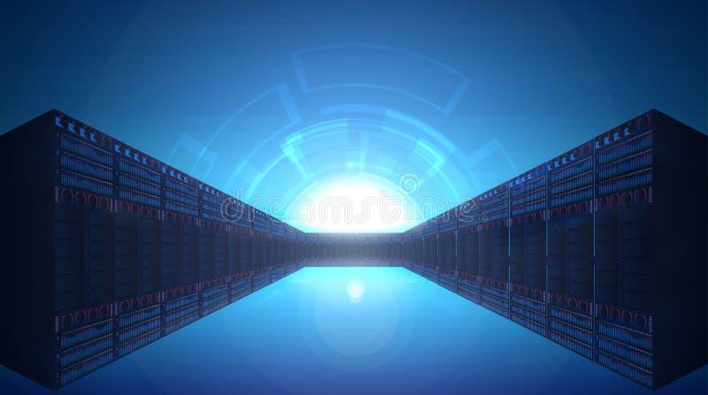 Διάδρομος των κεντρικών υπολογιστών πύργων στοκ εικόνες