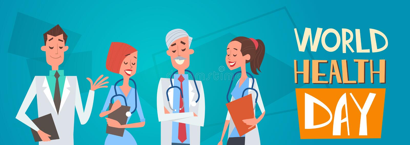 Διάμεση έννοια ημέρας παγκόσμιας υγείας νοσοκομείων κλινικών ομάδας γιατρών ομάδας απεικόνιση αποθεμάτων