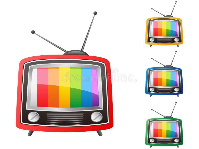 διάνυσμα έγχρωμου αναδρομικό τηλεοπτικού δέκτη απεικόνιση αποθεμάτων