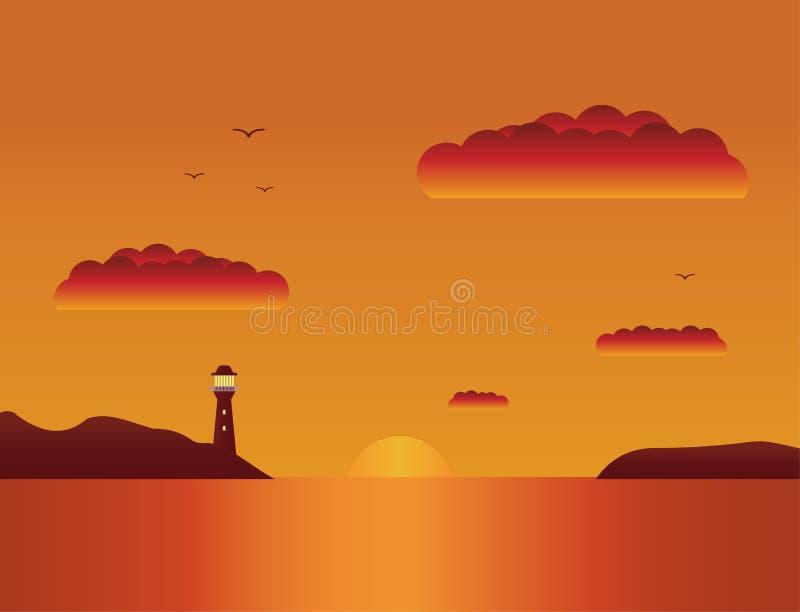 Διάνυσμα ένα επίπεδο τοπίο ένα θερινό ηλιοβασίλεμα στη θάλασσα Όμορφο τοπίο ηλιοβασιλέματος παραλιών τροπικό διανυσματική απεικόνιση