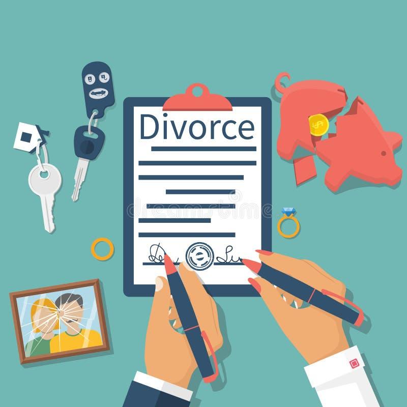 Διάνυσμα έννοιας διαζυγίου διανυσματική απεικόνιση