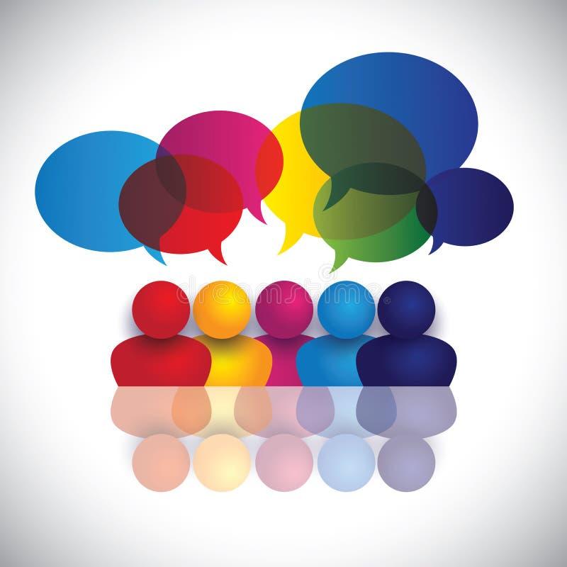 Διάνυσμα έννοιας των σχολικών παιδιών που μιλούν ή της συνεδρίασης του προσωπικό γραφείου απεικόνιση αποθεμάτων