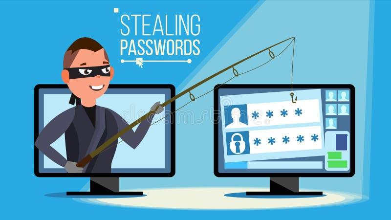 Διάνυσμα έννοιας χάραξης Χάκερ που χρησιμοποιεί τις Stealing πληροφορίες πιστωτικών καρτών προσωπικών Η/Υ, προσωπικά στοιχεία, χρ απεικόνιση αποθεμάτων