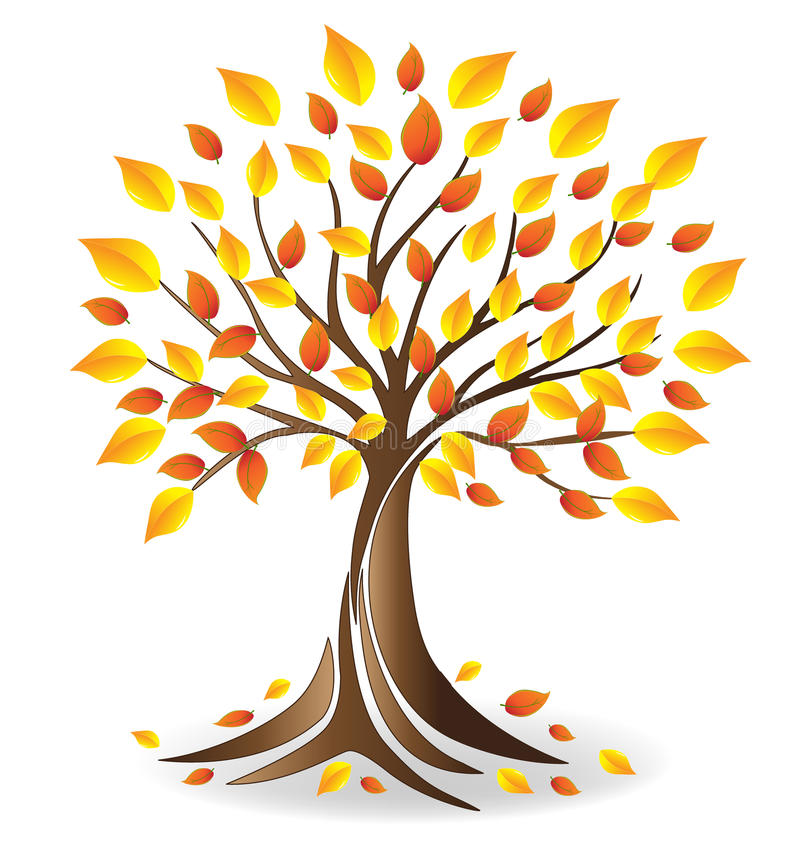 Διάνυσμα δέντρων εποχής πτώσης οικολογίας λογότυπων διανυσματική απεικόνιση