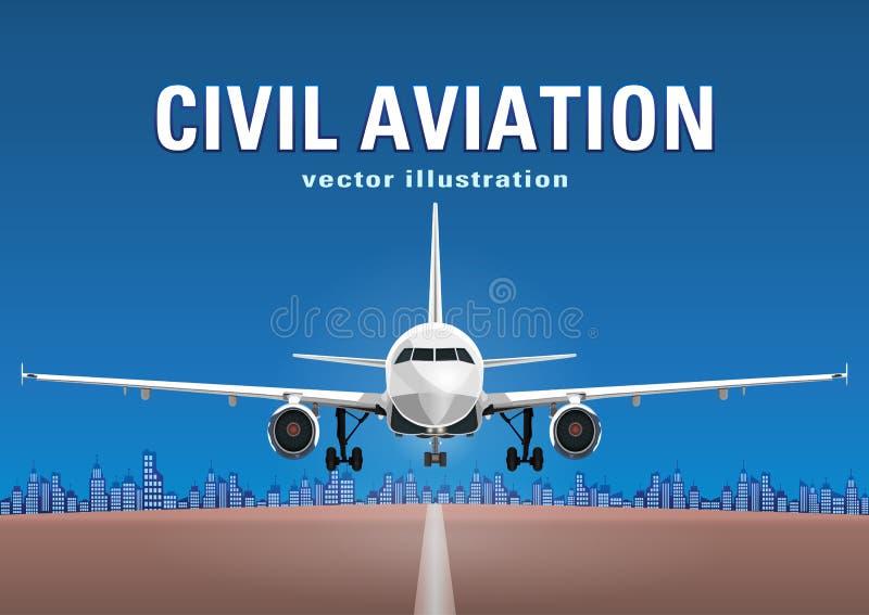 Διάνυσμα αεροσκαφών, αεροπλάνο απογείωσης στα πλαίσια του μπλε ουρανού, σπίτια πόλεων και ο διάδρομος, με το διάστημα για το κείμ ελεύθερη απεικόνιση δικαιώματος