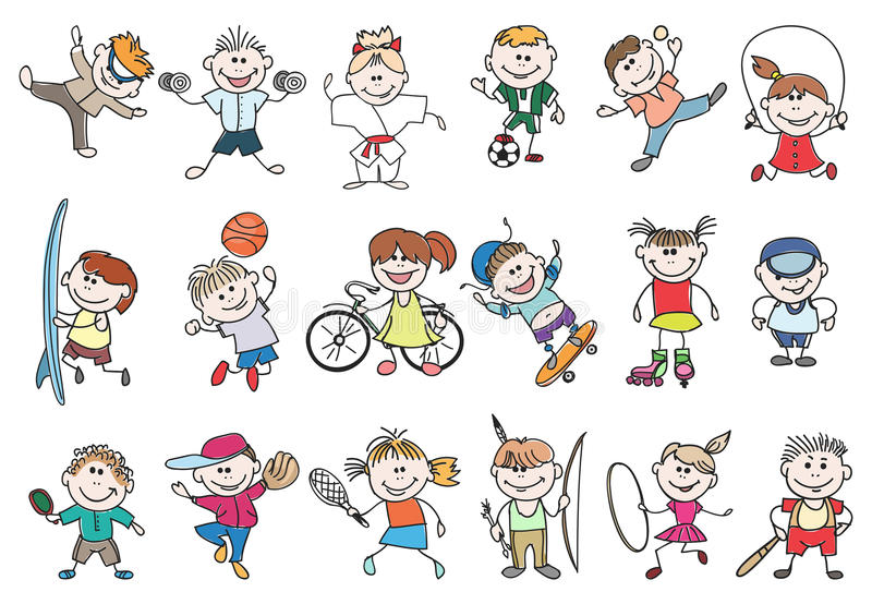 Διάνυσμα αθλητικής δραστηριότητας παιδιών διανυσματική απεικόνιση