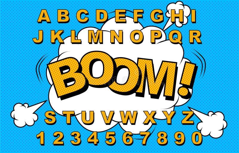 Διάνυσμα αλφάβητου κωμικό διανυσματική απεικόνιση