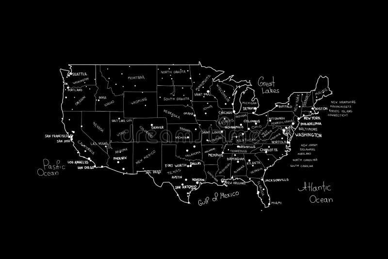 Διάνυσμα ΑΜΕΡΙΚΑΝΙΚΩΝ χαρτών Το χέρι η διανυσματική απεικόνιση του χάρτη των Ηνωμένων Πολιτειών της Αμερικής ελεύθερη απεικόνιση δικαιώματος