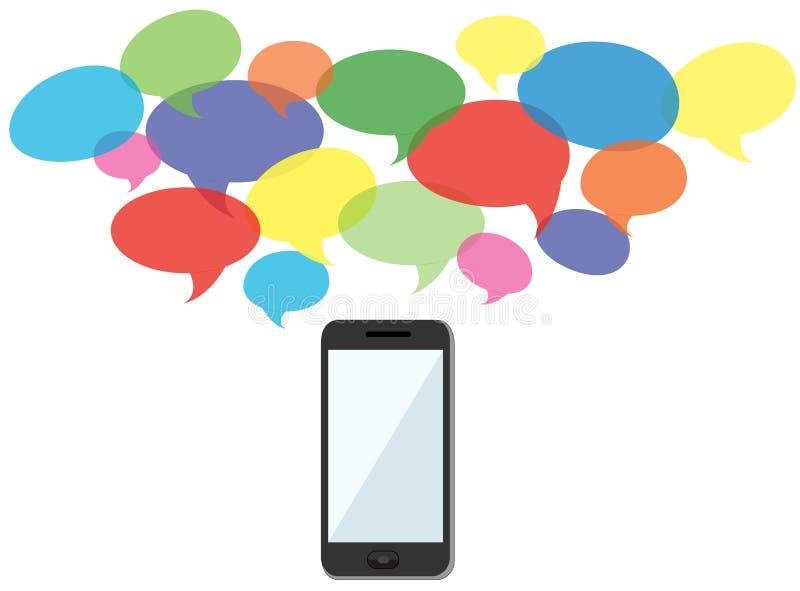 Διάνυσμα ανακοινώσεων smartphone συμβόλων συνομιλίας απεικόνιση αποθεμάτων