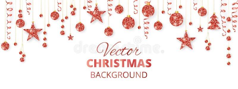 διάνυσμα απεικόνισης γιρλαντών Χριστουγέννων καρτών ανασκόπησης Το κόκκινο ακτινοβολεί διακοσμήσεις που απομονώνονται στο λευκό Κ διανυσματική απεικόνιση