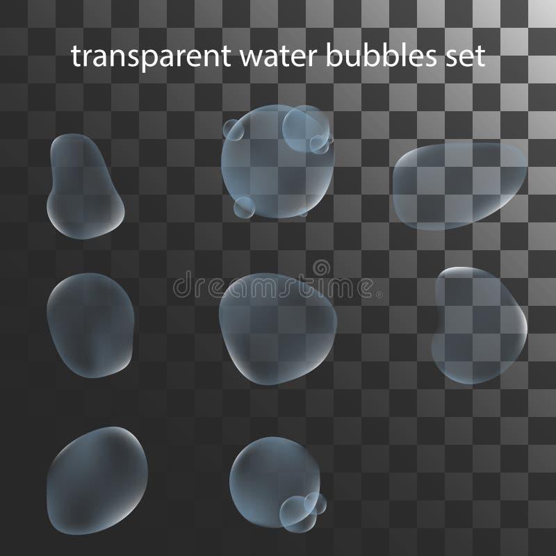 Διάνυσμα απεικόνισης ενός ρεαλιστικού διαφανούς συνόλου φυσαλίδων νερού στοκ φωτογραφία
