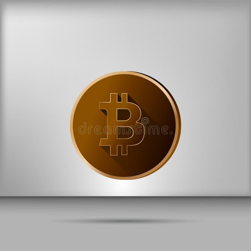 Διάνυσμα απεικόνισης ενός χρυσού bitcoin στο γκρίζο υπόβαθρο στοκ εικόνα με δικαίωμα ελεύθερης χρήσης