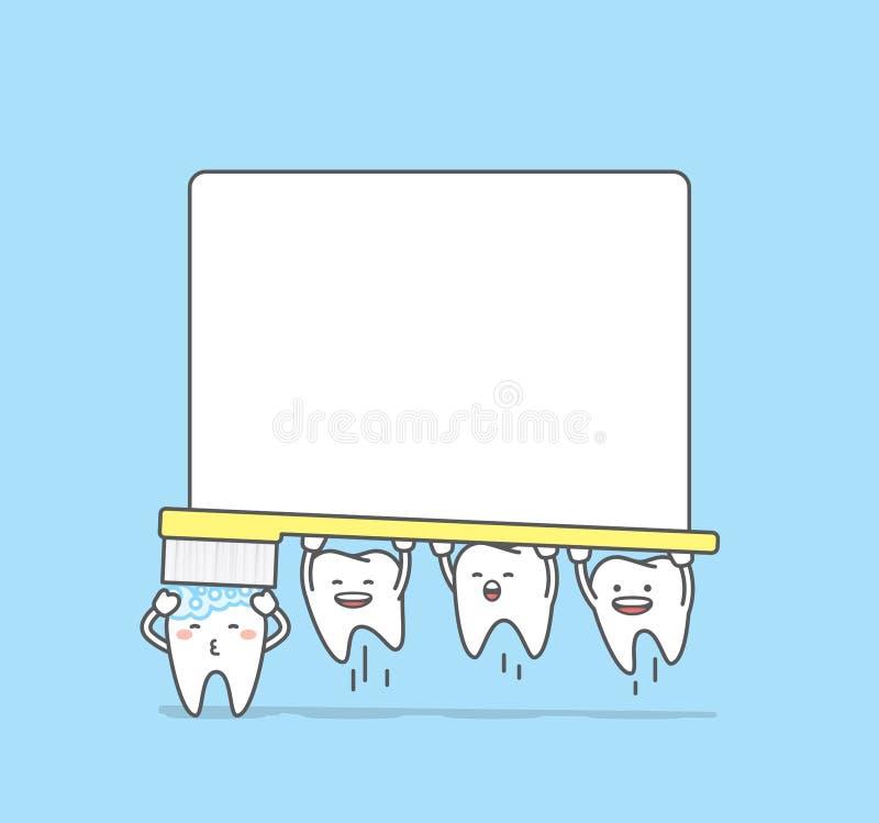 Διάνυσμα απεικόνισης πλαισίων δοντιών βουρτσίσματος χαρακτήρα δοντιών στο μπλε ελεύθερη απεικόνιση δικαιώματος
