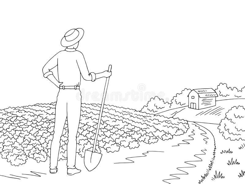 Διάνυσμα απεικόνισης σκίτσων αγροτικών γραφικό μαύρο άσπρο τοπίων Farmer που εξετάζει τον τομέα ελεύθερη απεικόνιση δικαιώματος