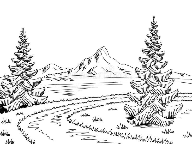 Διάνυσμα απεικόνισης σκίτσων οδικών γραφικό μαύρο άσπρο τοπίων ποταμών βουνών διανυσματική απεικόνιση