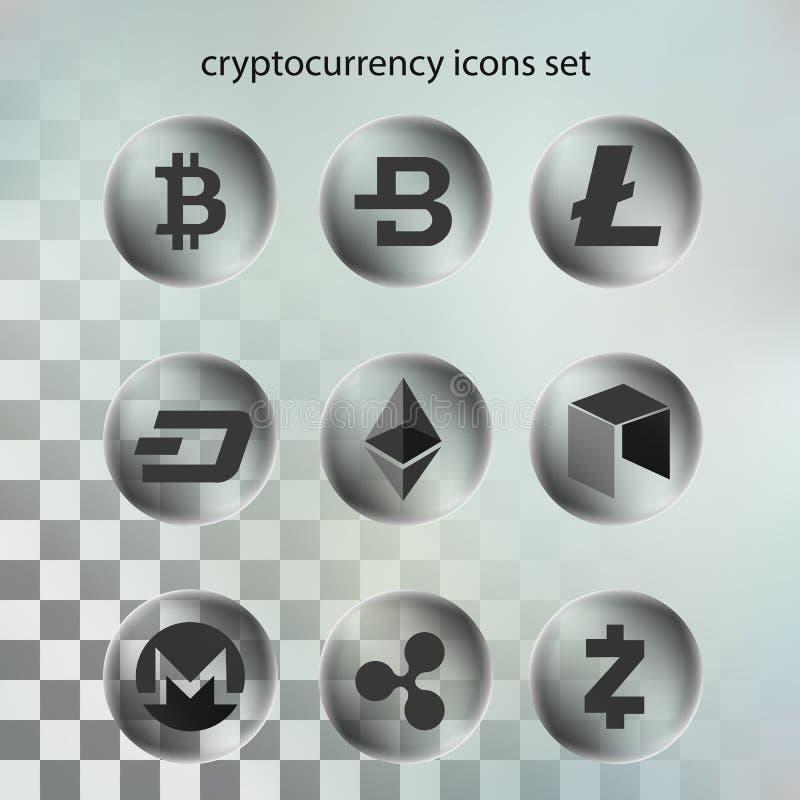 Διάνυσμα απεικόνισης του εικονιδίου cryptocurrency στη διαφανή φυσαλίδα στο διαφανές υπόβαθρο στοκ εικόνες