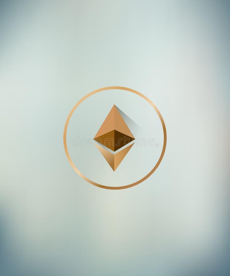 Διάνυσμα απεικόνισης του λογότυπου ethereum με τη μακριά σκιά θολωμένος backgroung στοκ φωτογραφία με δικαίωμα ελεύθερης χρήσης