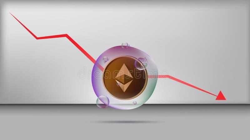 Διάνυσμα απεικόνισης του νομίσματος ethereum στη διαφανή φυσαλίδα με τη μειωμένη γραφική παράσταση στοκ εικόνες