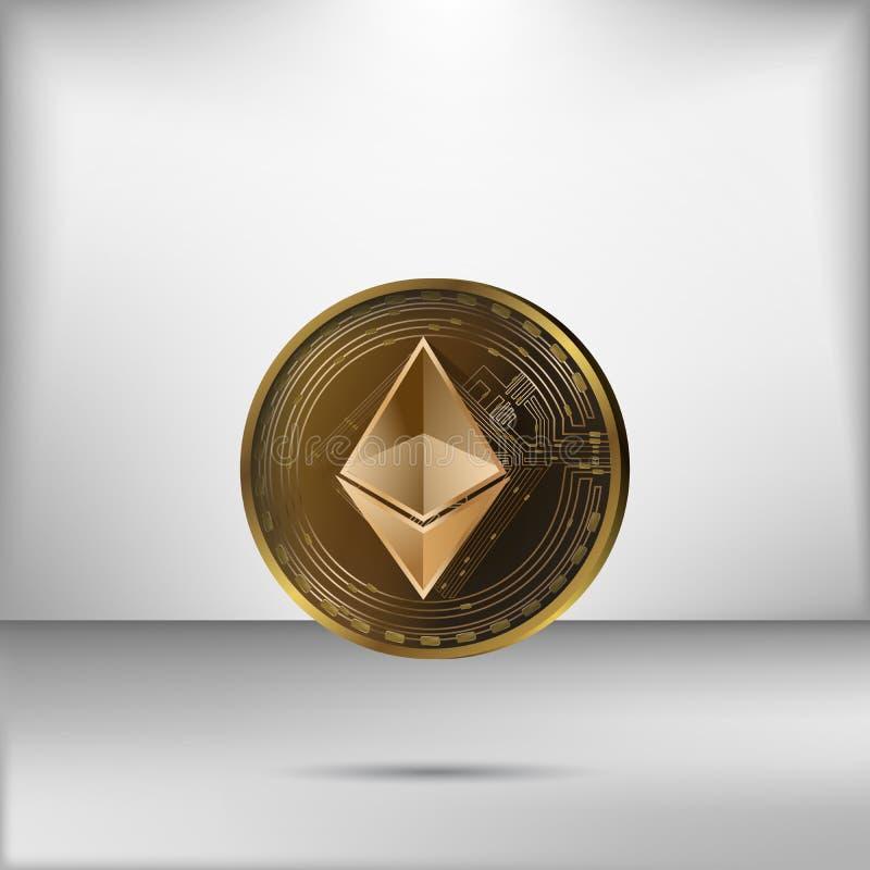 Διάνυσμα απεικόνισης του ρεαλιστικού χρυσού νομίσματος ethereum στο γκρίζο υπόβαθρο στοκ εικόνες με δικαίωμα ελεύθερης χρήσης