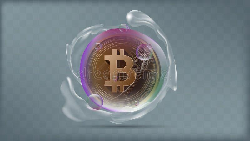 Διάνυσμα απεικόνισης του ρεαλιστικού χρυσού bitcoin στη διαφανή ζωηρόχρωμη φυσαλίδα με το ράντισμα νερού στοκ φωτογραφία με δικαίωμα ελεύθερης χρήσης