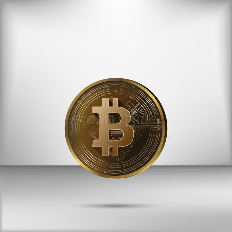 Διάνυσμα απεικόνισης του ρεαλιστικού χρυσού bitcoin στο γκρίζο υπόβαθρο στοκ εικόνα με δικαίωμα ελεύθερης χρήσης