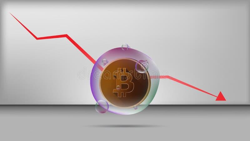 Διάνυσμα απεικόνισης του bitcoin στη διαφανή φυσαλίδα με τη μειωμένη γραφική παράσταση στοκ εικόνες