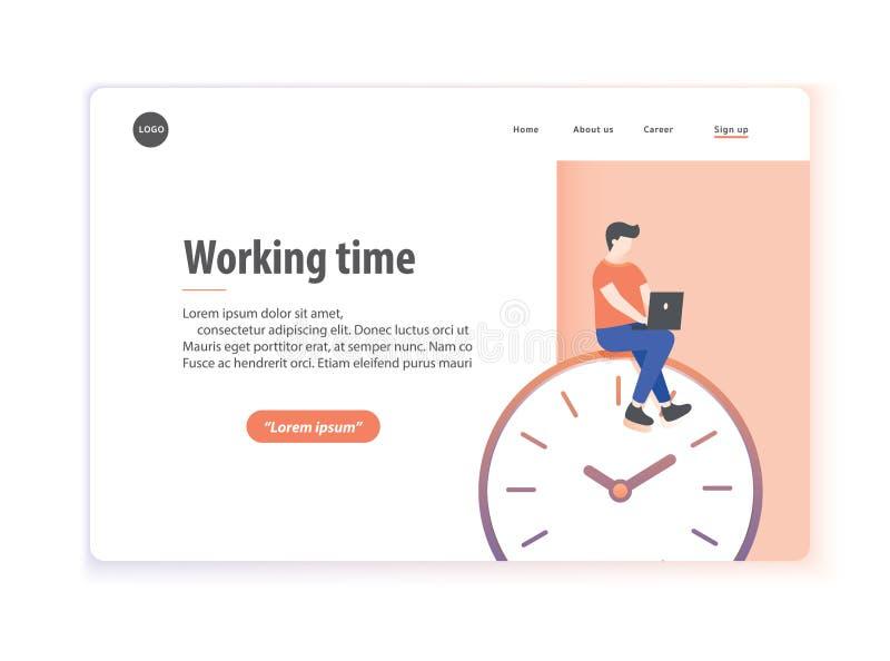 Διάνυσμα απεικόνισης χρόνου απασχόλησης σχεδιαγράμματος ιστοσελίδας στο άσπρο backgr διανυσματική απεικόνιση