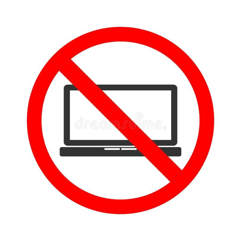 Διάνυσμα αποθεμάτων κανενός lap-top Απαγόρευση για την πρόσβαση του lap-top Φορέστε τον υπολογιστή χρήσης ` τ απεικόνιση αποθεμάτων