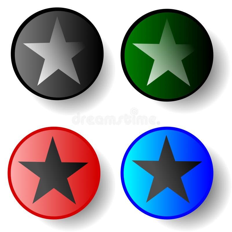 Διάνυσμα αστεριών κουμπιών κύκλων απεικόνιση αποθεμάτων
