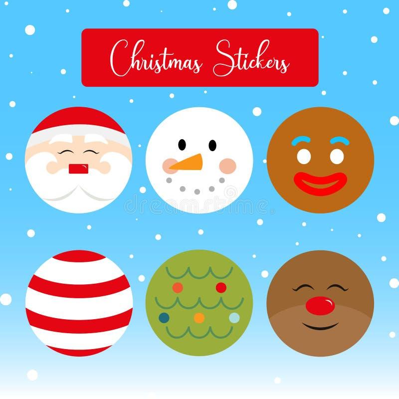 Διάνυσμα αυτοκόλλητων ετικεττών Χριστουγέννων Επίπεδα εικονίδια Χριστουγέννων διανυσματική απεικόνιση