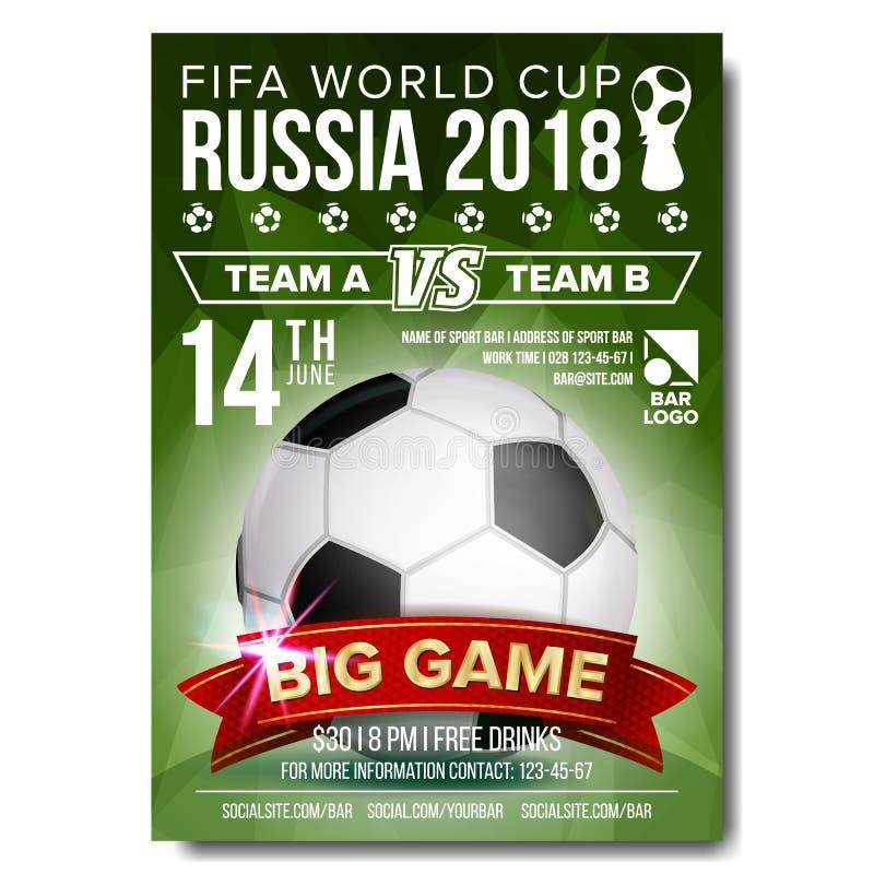 2018 διάνυσμα αφισών Παγκόσμιου Κυπέλλου της FIFA Καλωσορίστε στη Ρωσία Σφαίρα ποδοσφαίρου ποδοσφαίρου Σχέδιο για την προώθηση αθ διανυσματική απεικόνιση