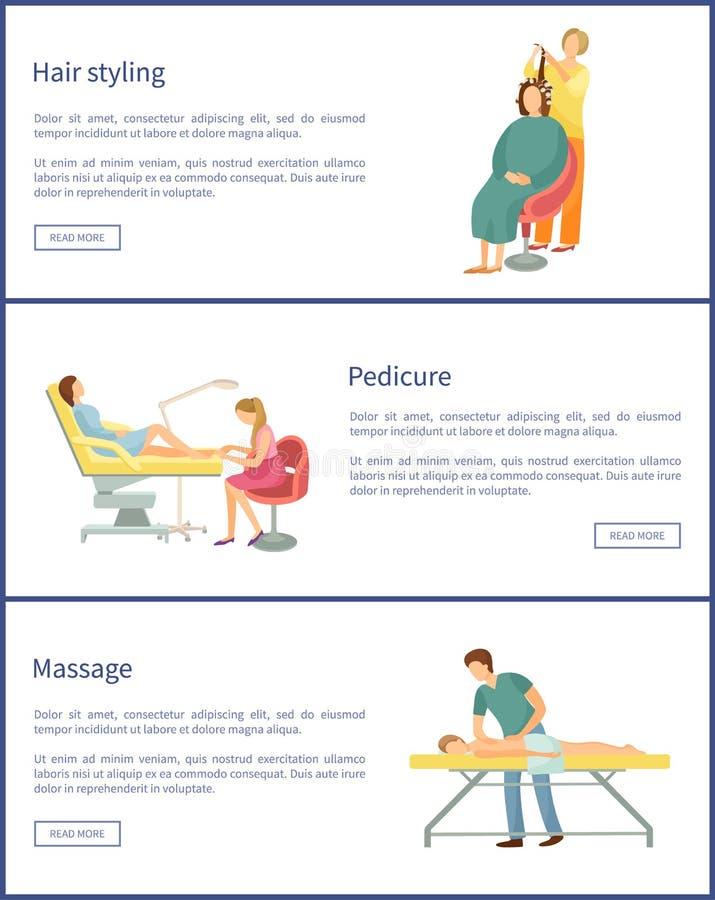 Διάνυσμα αφισών προσδιορισμού τρίχας και αλλαγής Hairstyle απεικόνιση αποθεμάτων