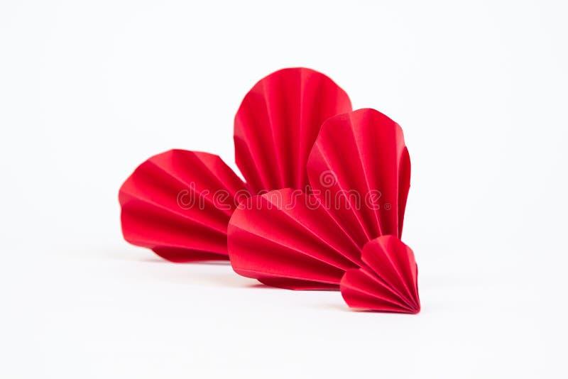 διάνυσμα βαλεντίνων origami απεικόνισης καρδιών καρτών eps10 στοκ εικόνες
