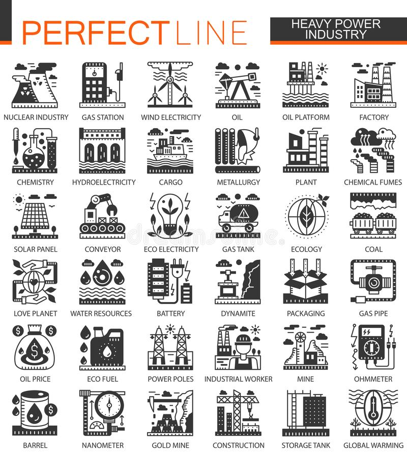Διάνυσμα βαρύ και μαύρα μίνι εικονίδια έννοιας βιομηχανίας δύναμης και infographic σύμβολα καθορισμένα ελεύθερη απεικόνιση δικαιώματος