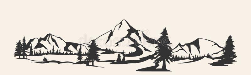 Διάνυσμα βουνών Σκιαγραφία σειράς βουνών που απομονώνεται Διανυσματική απεικόνιση βουνών απεικόνιση αποθεμάτων