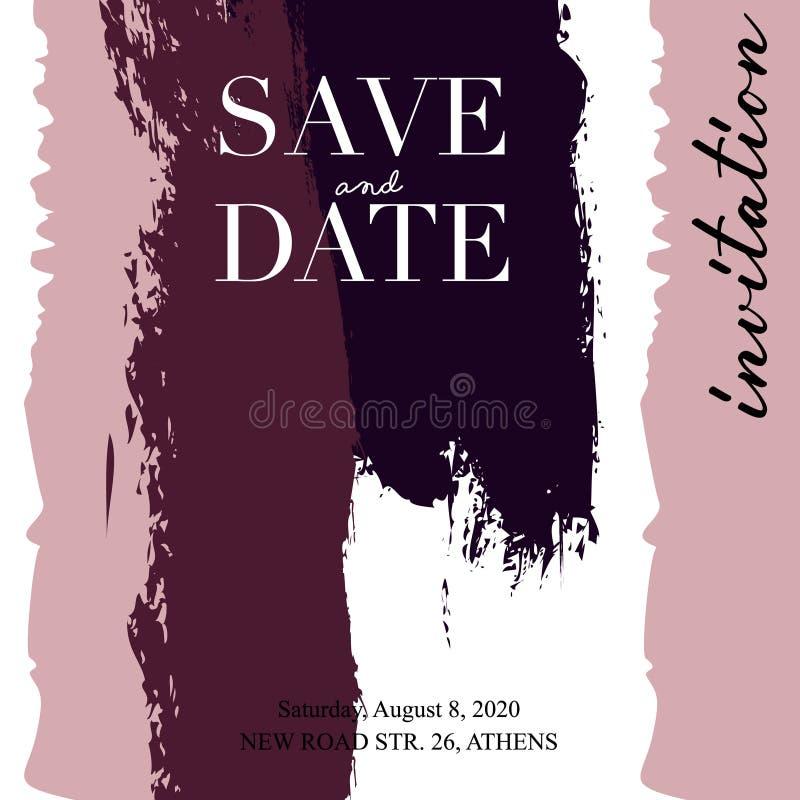 Διάνυσμα γαμήλιων προσκλήσεων Σχέδιο προτύπων καρτών σύστασης Grunge με τις χρωματισμένες κάθετες γραμμές καμβά απεικόνιση κτυπήμ διανυσματική απεικόνιση