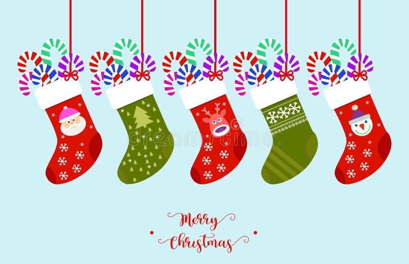 Διάνυσμα γυναικείων καλτσών Χριστουγέννων απεικόνιση αποθεμάτων
