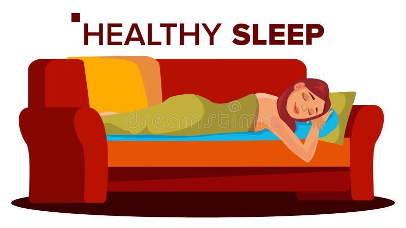 Διάνυσμα γυναικών ειρηνικά ύπνου Στήριξη στην κρεβατοκάμαρα αϋπνία Επίπεδη απεικόνιση κινούμενων σχεδίων διανυσματική απεικόνιση