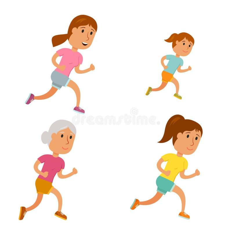 Διάνυσμα γυναικών τρεξίματος απεικόνιση αποθεμάτων