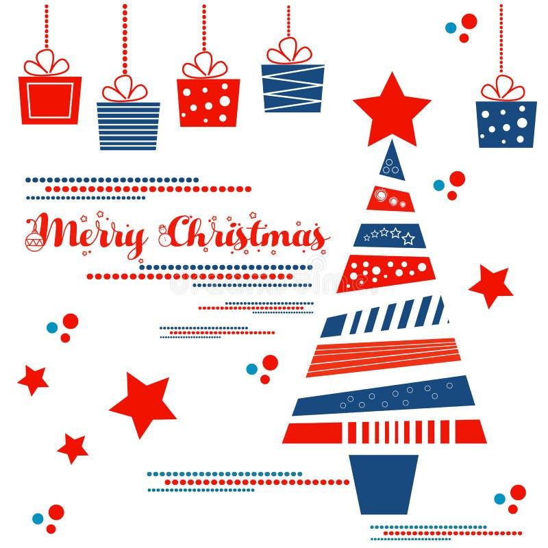 διάνυσμα δέντρων απεικόνισης δώρων Χριστουγέννων διανυσματική απεικόνιση