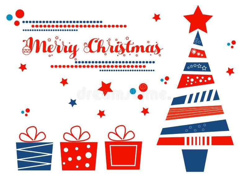 διάνυσμα δέντρων απεικόνισης δώρων Χριστουγέννων ελεύθερη απεικόνιση δικαιώματος