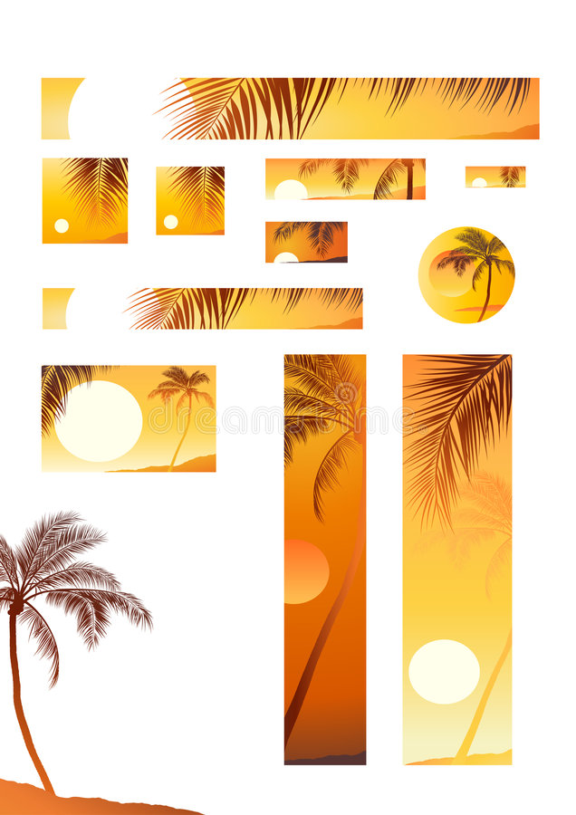 διάνυσμα δέντρων ηλιοβασιλέματος απεικόνισης καρύδων απεικόνιση αποθεμάτων